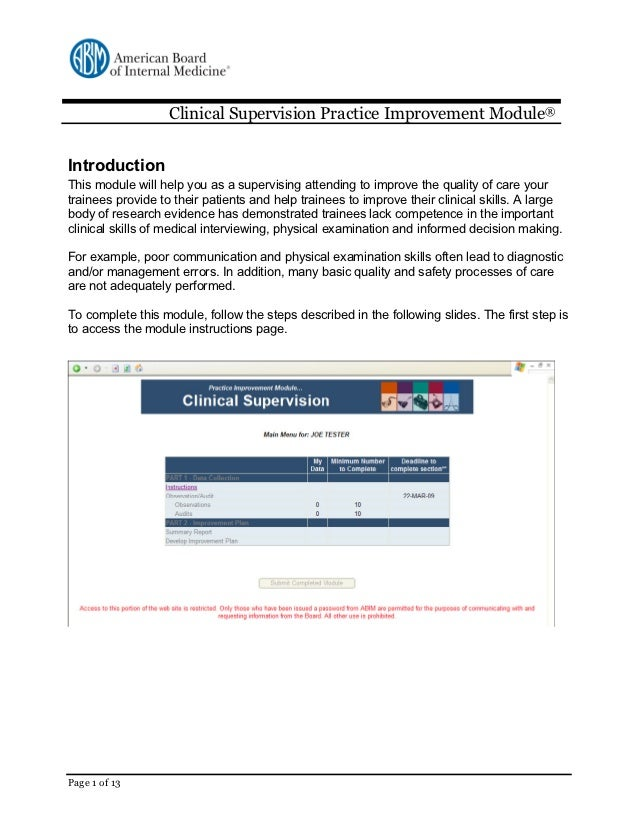 Clinical Supervision Practice Improvement Module®IntroductionThis module will help you as a supervising attending to impro...