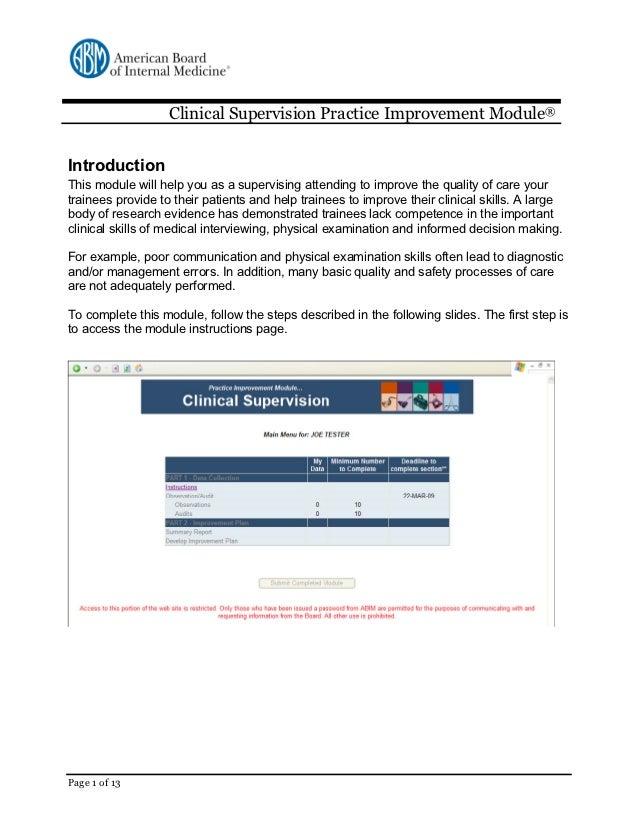 Clinical supervision walkthrough - American Board of Internal Medicine