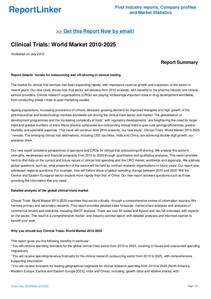 Clinical Trials: World Market 2010-2025