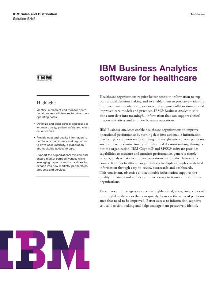 Clinical and Business Performance Management Software: Analytics Software from IBM for Improved Efficiency