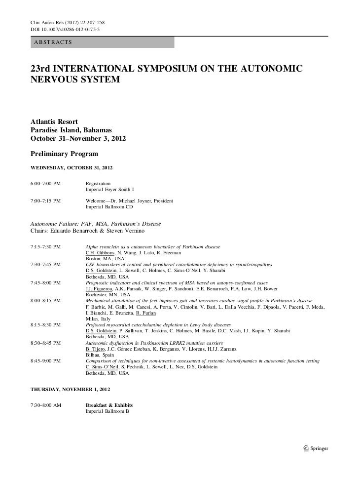 Clin Auton Res (2012) 22:207–258DOI 10.1007/s10286-012-0175-5 ABSTRACTS23rd INTERNATIONAL SYMPOSIUM ON THE AUTONOMICNERVOU...