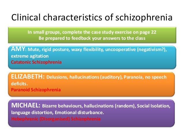 paranoid schizophrenia case studies Schizophrenia refers to a group of severe, disabling psychiatric disorders marked by withdrawal from reality, illogical thinking, possible delusions and hallucinations, and emotional, behavioral, or intellectual disturbance.