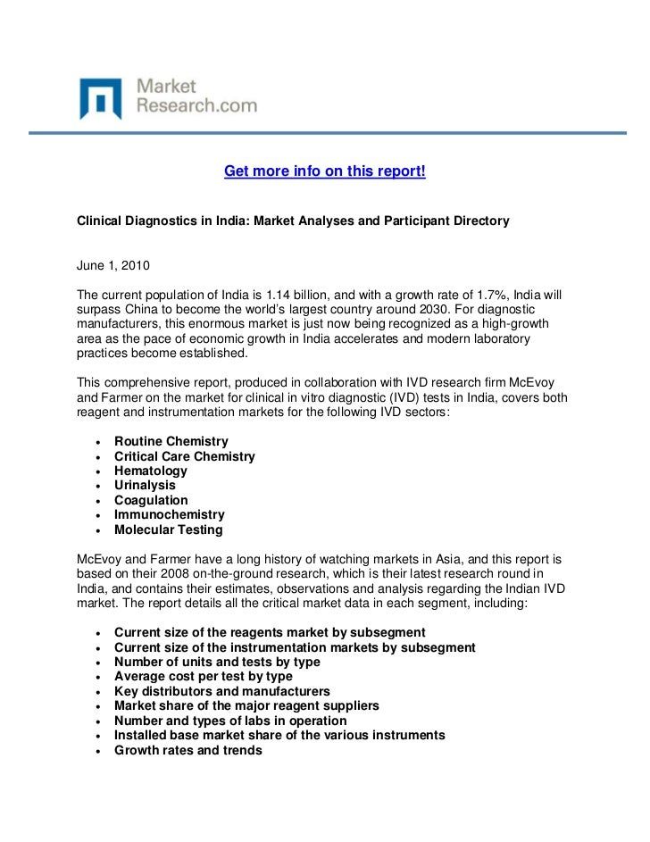 Clinical Diagnostics in India: Market Analyses and Participant Directory