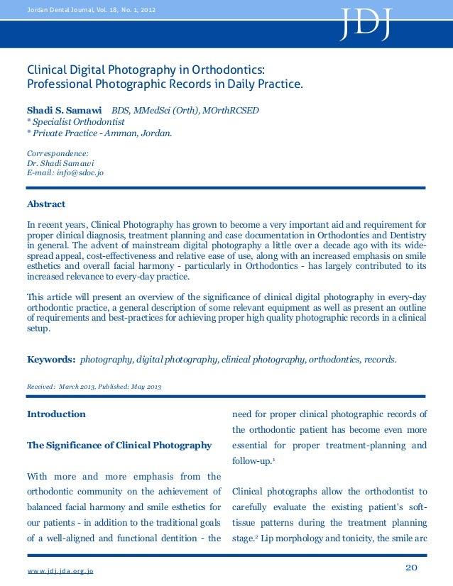 JDJ  Jordan Dental Journal, Vol. 18, No. 1, 2012  Clinical Digital Photography in Orthodontics: Professional Photographic ...