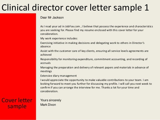clinical director cover letter