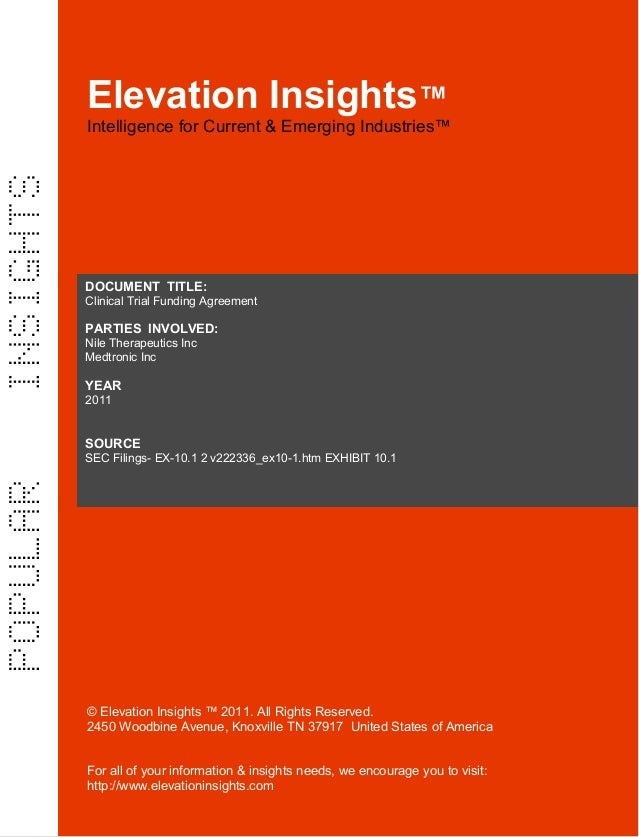 Elevation Insights™  |  Clinical Trial Funding Agreement   (Medtronic & Nile Therapeutics)