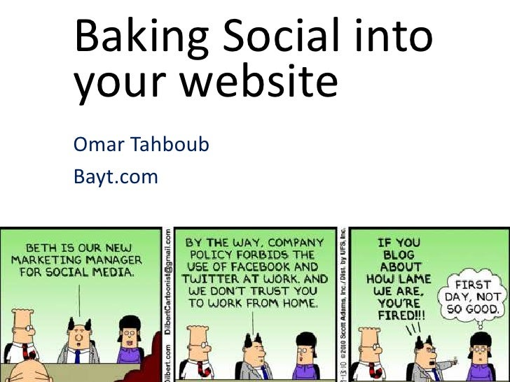 Baking Social intoyour websiteOmar TahboubBayt.com