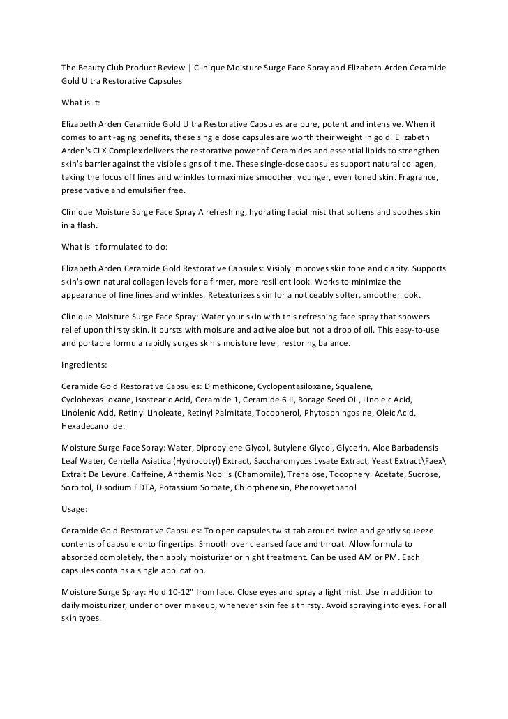 The Beauty Club Product Review | Clinique Moisture Surge Face Spray and Elizabeth Arden CeramideGold Ultra Restorative Cap...