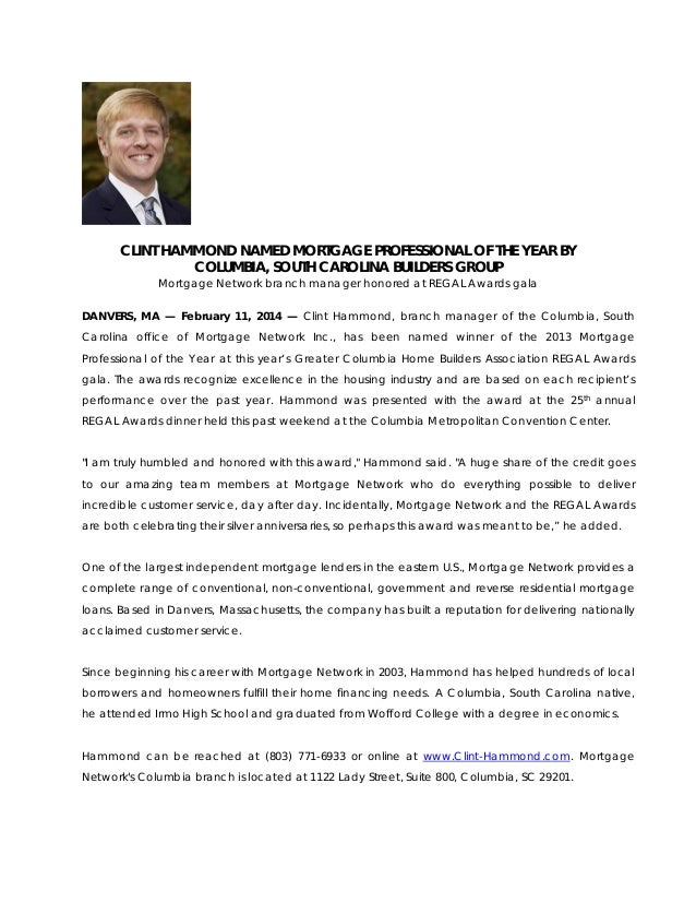 CLINT HAMMOND NAMED MORTGAGE PROFESSIONAL OF THE YEAR BY COLUMBIA, SOUTH CAROLINA BUILDERS GROUP Mortgage Network branch m...