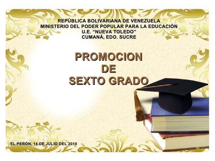 """REPÚBLICA BOLIVARIANA DE VENEZUELA MINISTERIO DEL PODER POPULAR PARA LA EDUCACIÓN U.E. """"NUEVA TOLEDO"""" CUMANÁ, EDO. SUCRE P..."""