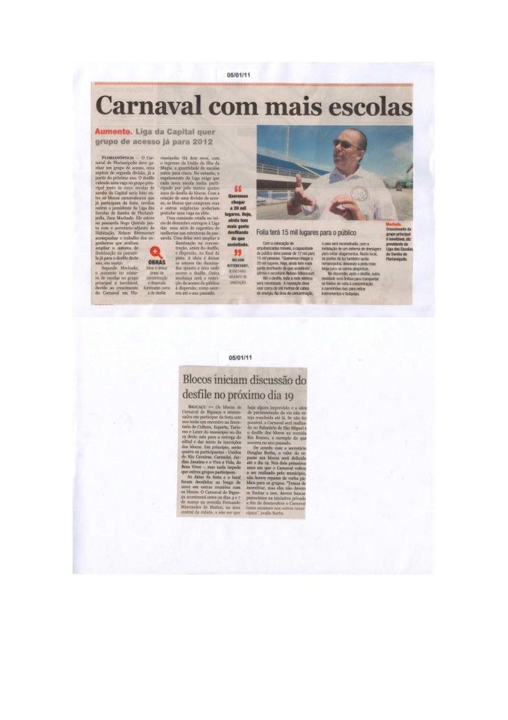 Clipagem dos jornais ano 2011