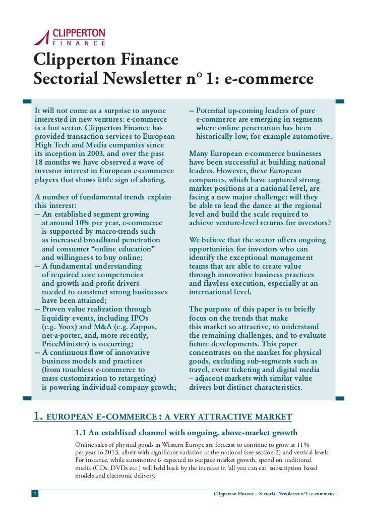Clipperton finance Sectorial Newsletter: e-commerce