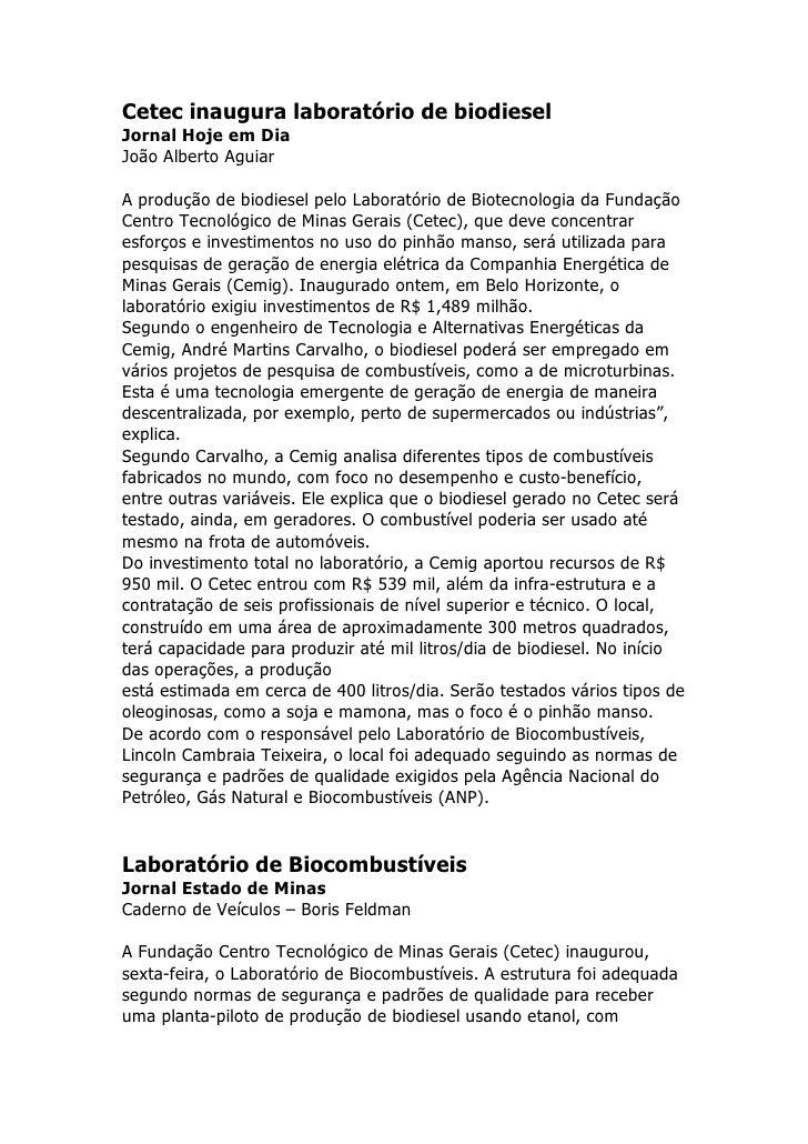 Cetec inaugura laboratório de biodiesel Jornal Hoje em Dia João Alberto Aguiar  A produção de biodiesel pelo Laboratório d...