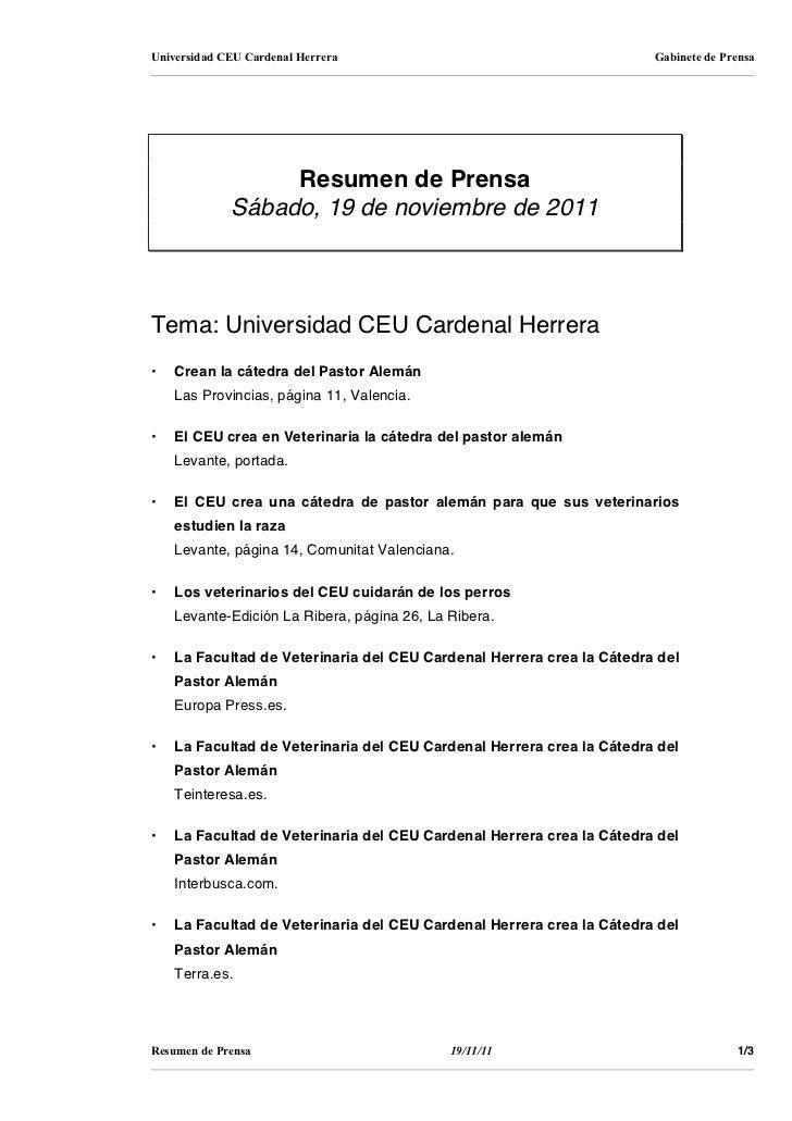 Universidad CEU Cardenal Herrera                                       Gabinete de Prensa                  Resumen de Pren...