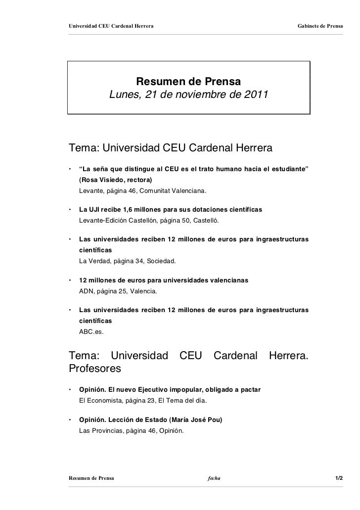 Universidad CEU Cardenal Herrera                                      Gabinete de Prensa                    Resumen de Pre...