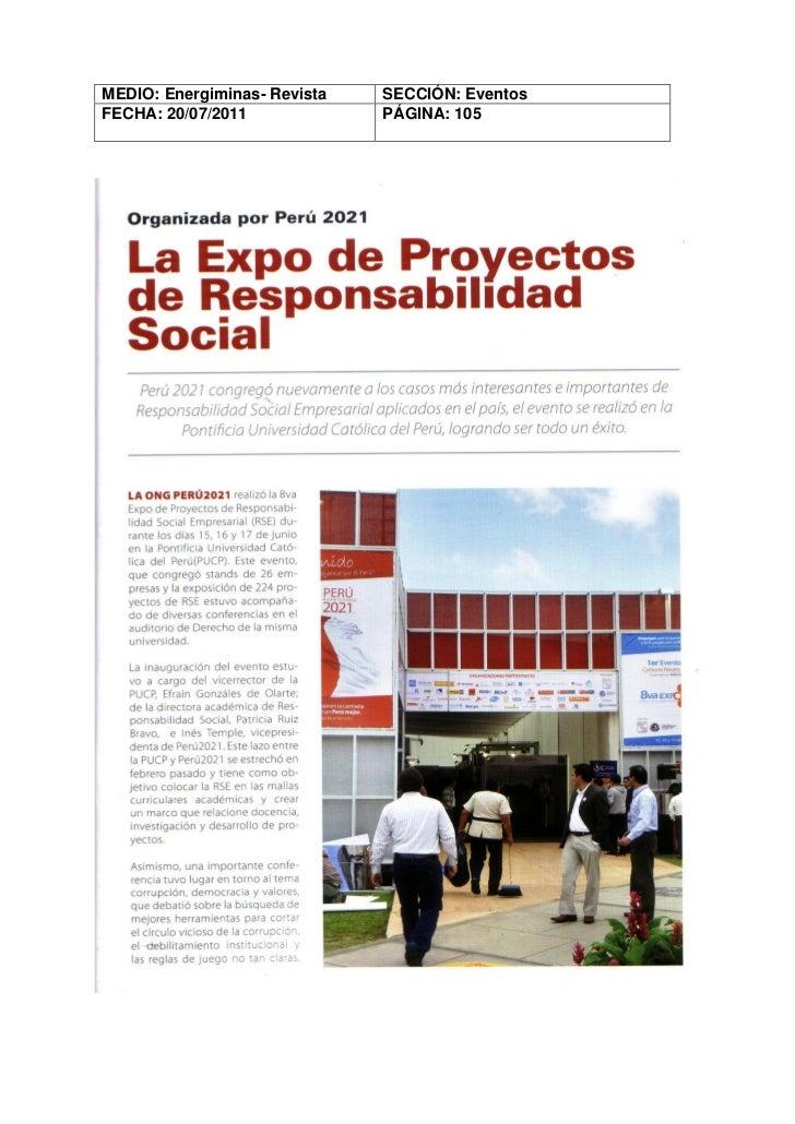 MEDIO: Energiminas- Revista   SECCIÓN: EventosFECHA: 20/07/2011             PÁGINA: 105
