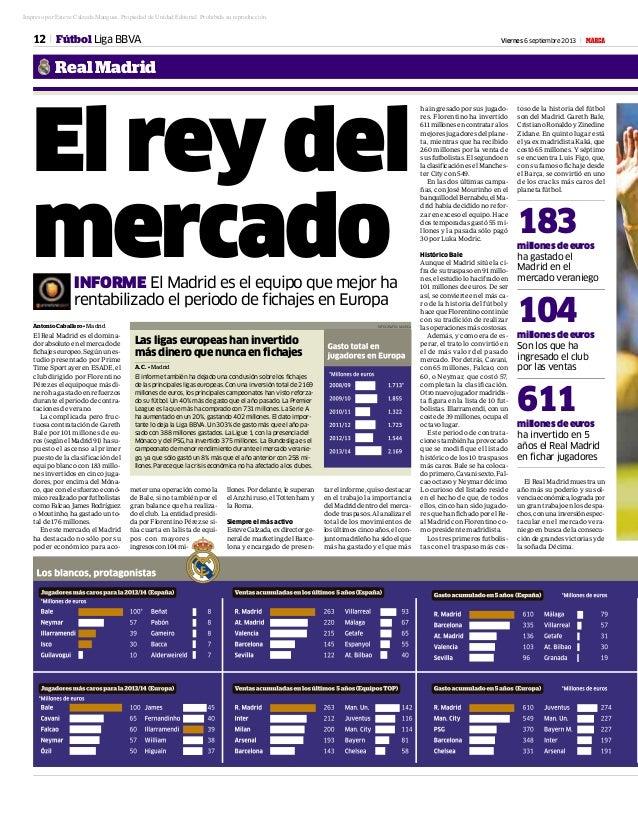 12 Viernes 6 septiembre 2013 M RealMadrid Fútbol Liga BBVA El rey del mercadoINFORME El Madrid es el equipo que mejor ha r...