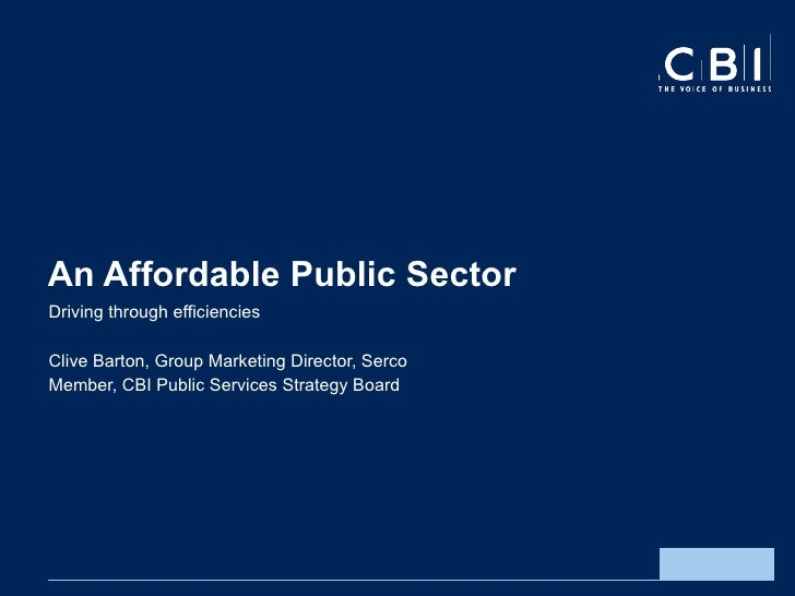Clive Barton presentation: an affordable public sector