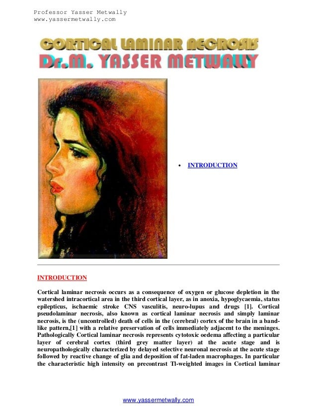 Professor Yasser Metwally www.yassermetwally.com    INTRODUCTION  INTRODUCTION Cortical laminar necrosis occurs as a cons...