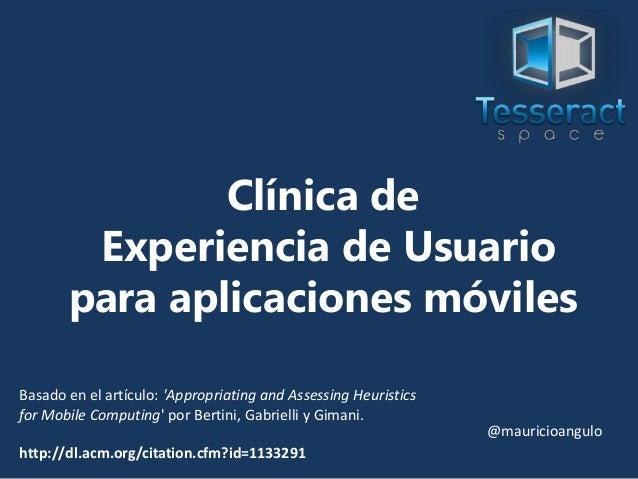 Clínica de experiencia de usuario para aplicaciones móviles
