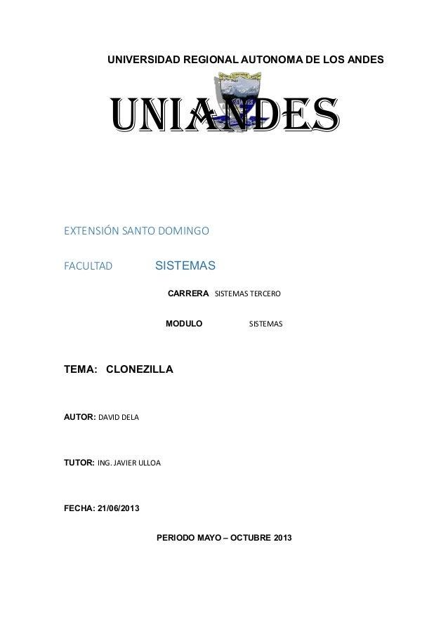 UNIVERSIDAD REGIONAL AUTONOMA DE LOS ANDESuniandesEXTENSIÓN SANTO DOMINGOFACULTAD SISTEMASCARRERA SISTEMAS TERCEROMODULO S...