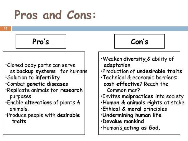 Reproductive cloning pros and cons
