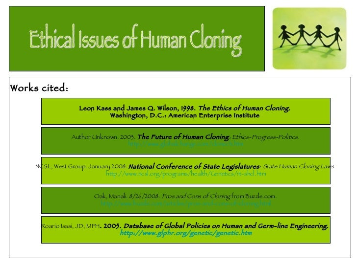 an argument stating the immorality of human cloning This argument against cloning humans presumes an understanding of nature as  a  or an undoubtedly misguided desire for immortality'' (wilmut et al, 2000, p   cannot be restricted unless clearly necessary to protect compelling state.
