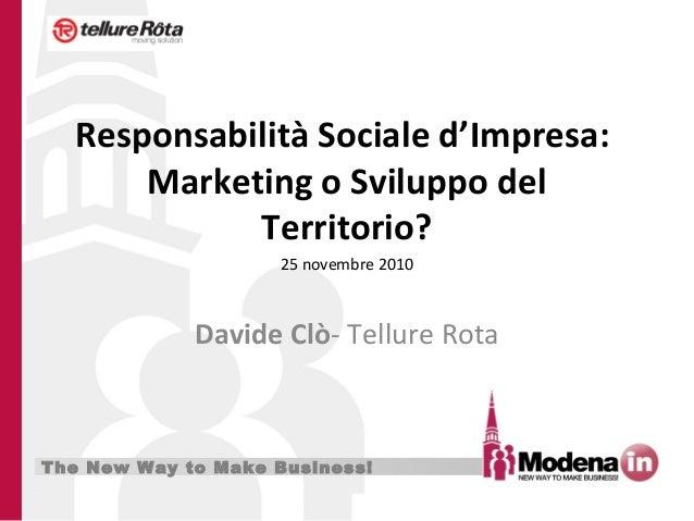The New Way to Make Business! Responsabilità Sociale d'Impresa: Marketing o Sviluppo del Territorio? Davide Clò- Tellure R...