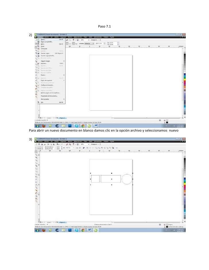 Paso 7.12)Para abrir un nuevo documento en blanco damos clic en la opción archivo y seleccionamos nuevo3)