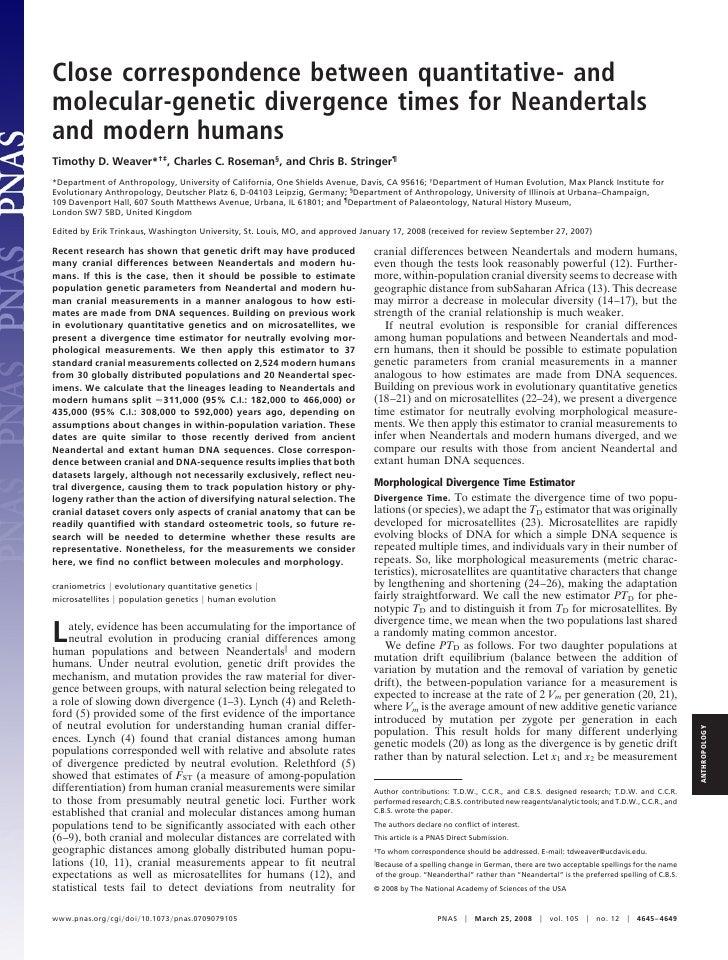 Close correspondence between quantitative  and molecular-genetic divergence times for neandertals and modern humans (weaver et al.)
