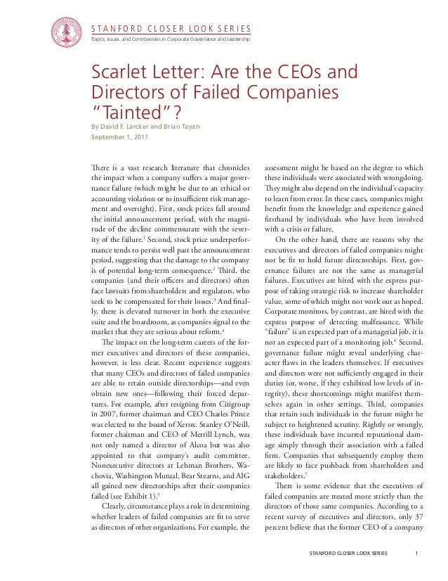 """CGRP19 - Scarlet Letter: Are the CEOs and Directors of Failed Companies """"Tainted""""?"""
