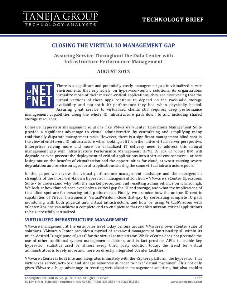 Closing The Virtual IO Management Gap