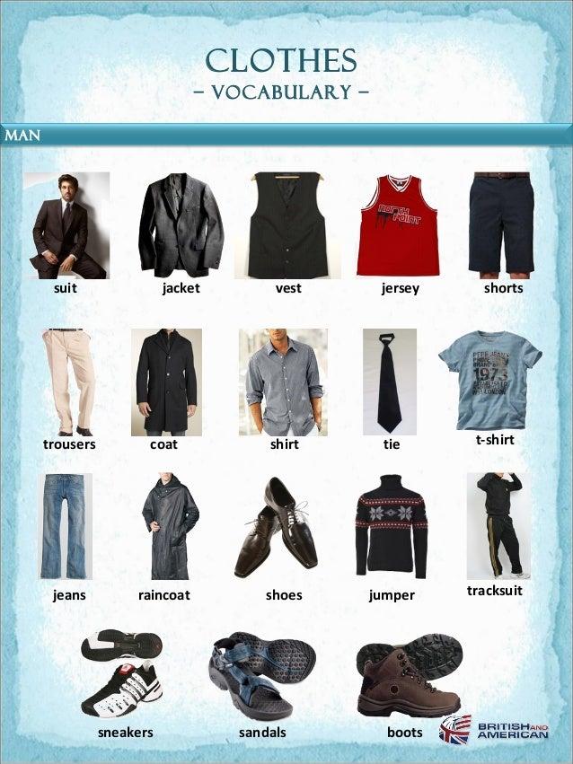clothes                                 – Vocabulary –MAN       suit                 jacket         vest    jersey     sho...