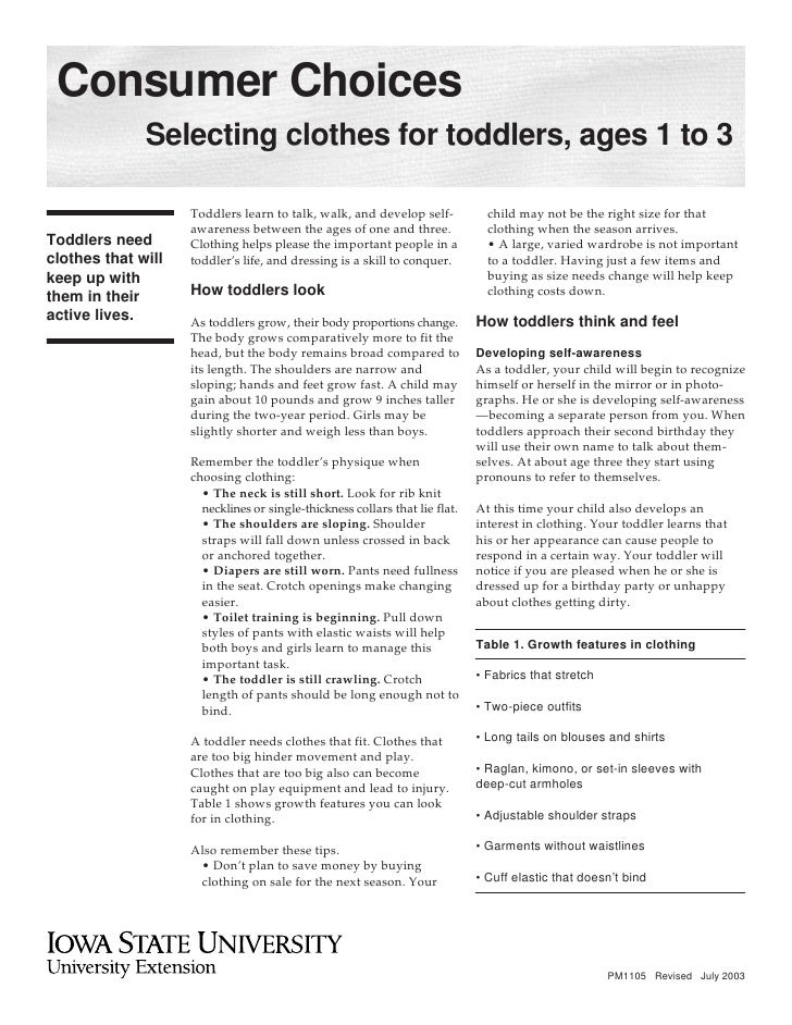 Consumer Choices               Selecting clothes for toddlers, ages 1 to 3                      Toddlers learn to talk, wa...