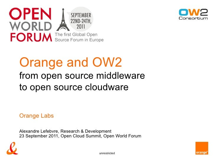 Orange and OW2from open source middlewareto open source cloudwareOrange LabsAlexandre Lefebvre, Research & Development23 S...