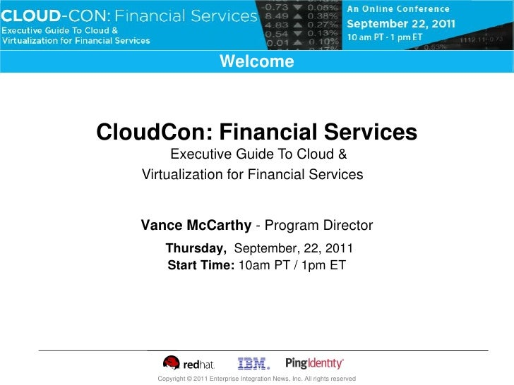 Virtualization & Private Cloud                          WelcomeCloudCon: Financial Services        Executive Guide To Clou...