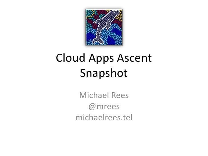 Cloud Apps AscentSnapshot<br />Michael Rees@mreesmichaelrees.tel<br />