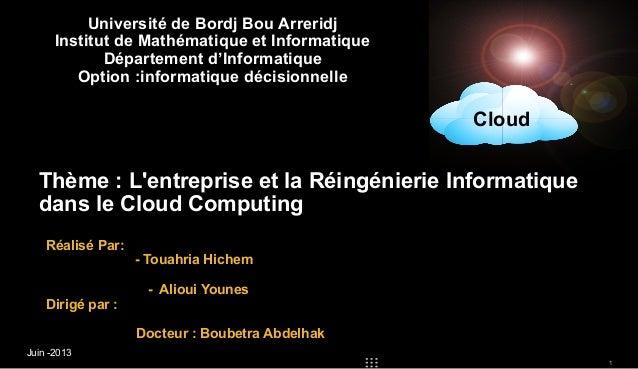 Université de Bordj Bou Arreridj Institut de Mathématique et Informatique Département d'Informatique Option :informatique ...
