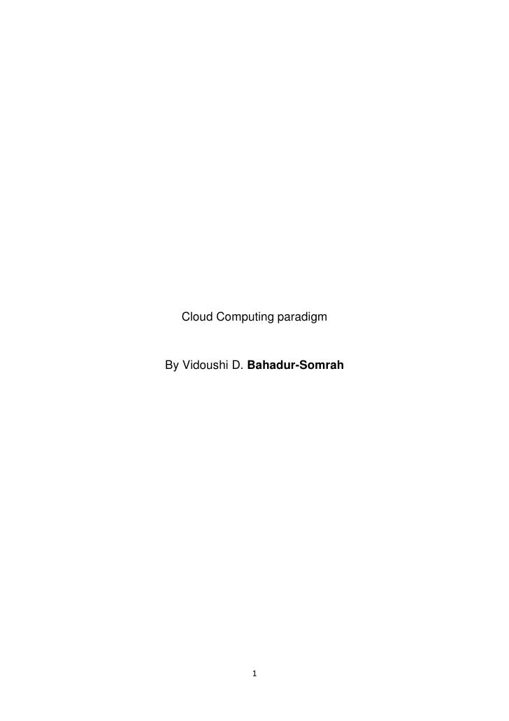Cloud Computing paradigm