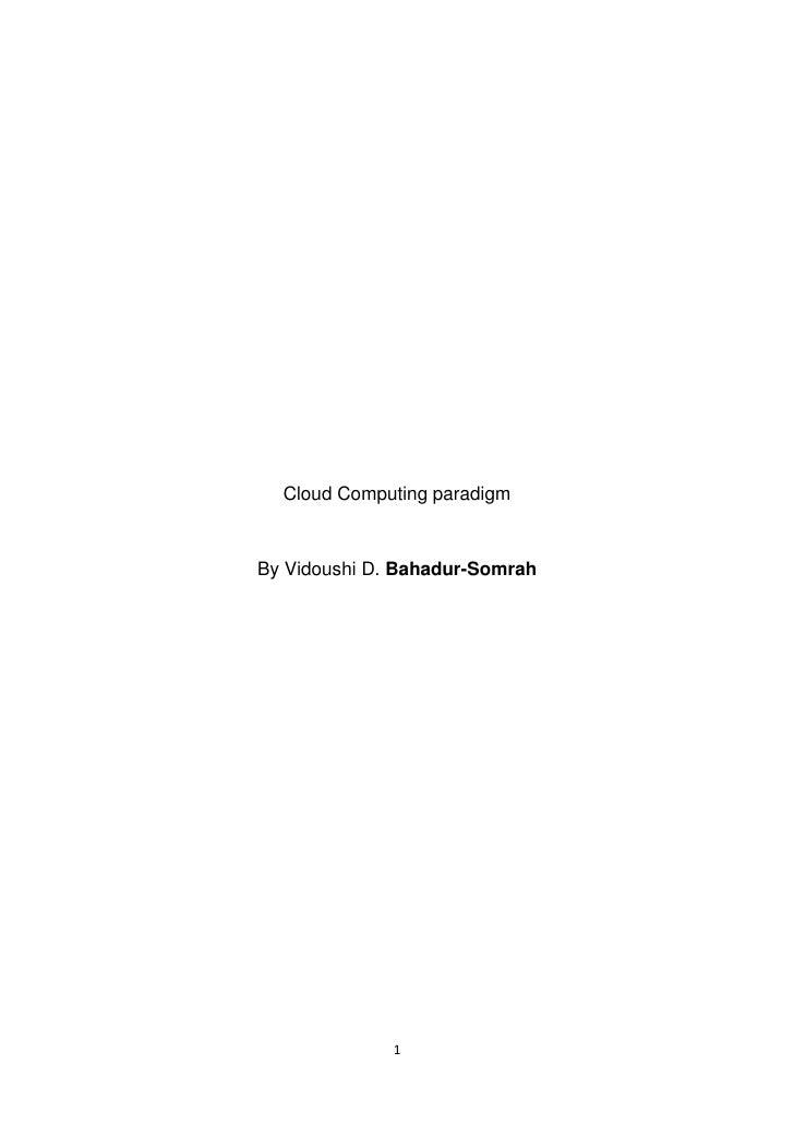 Cloud Computing paradigm