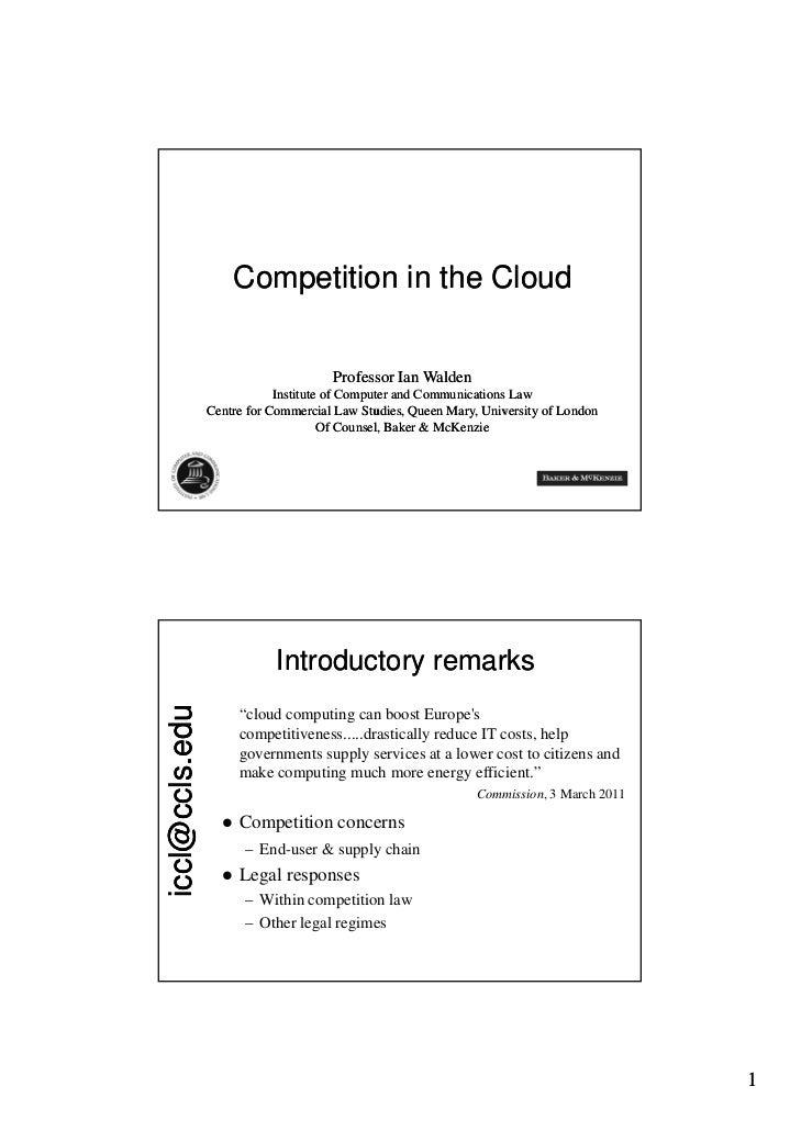 Cloud computing  - competition law issues