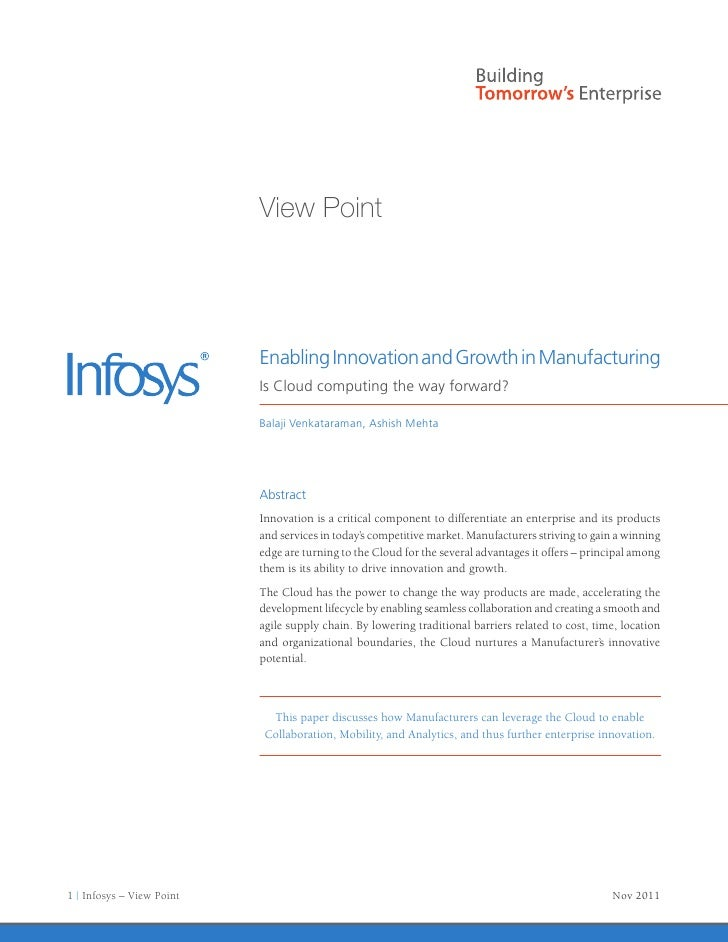 View Point                           Enabling Innovation and Growth in Manufacturing                           Is Cloud co...
