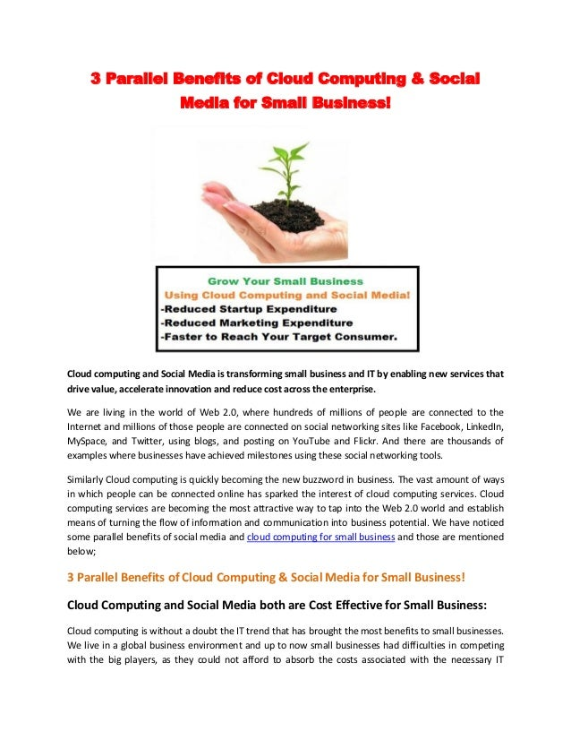 3 Parallel Benefits of Cloud Computing & Social                          Media for Small Business!Cloud computing and Soci...