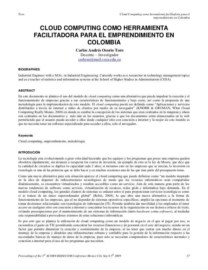 Cloud computing como herramienta facilitadora para el emprendimiento en colombia   carlos andrés osorio toro (2009)