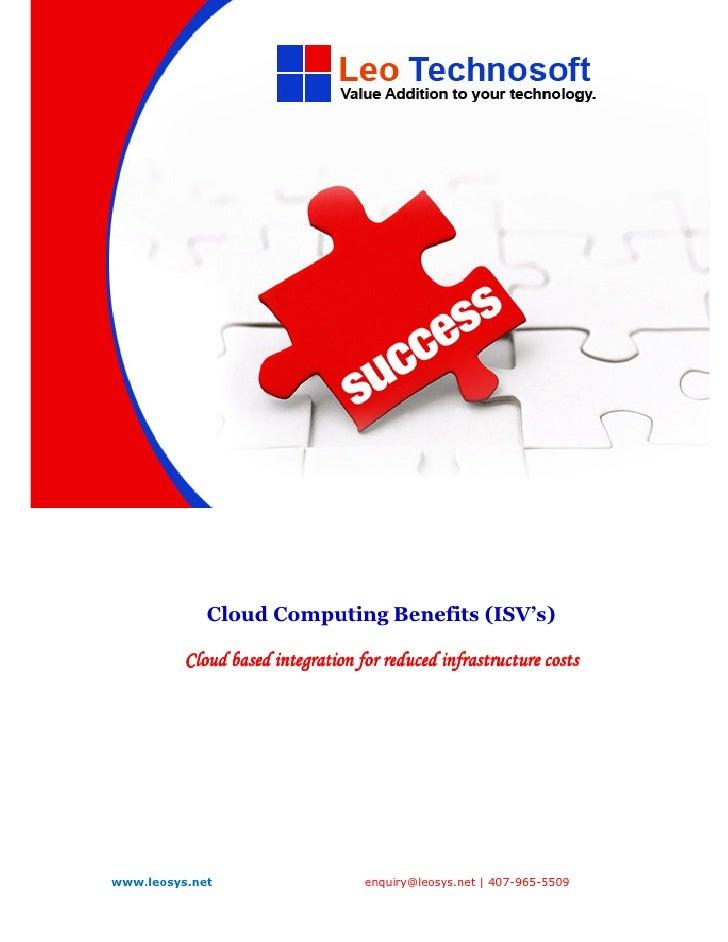 Cloud Computing For ISV's