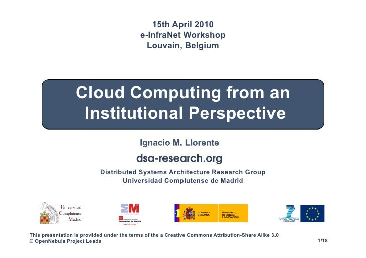 Cloud computing from an institutional perspective