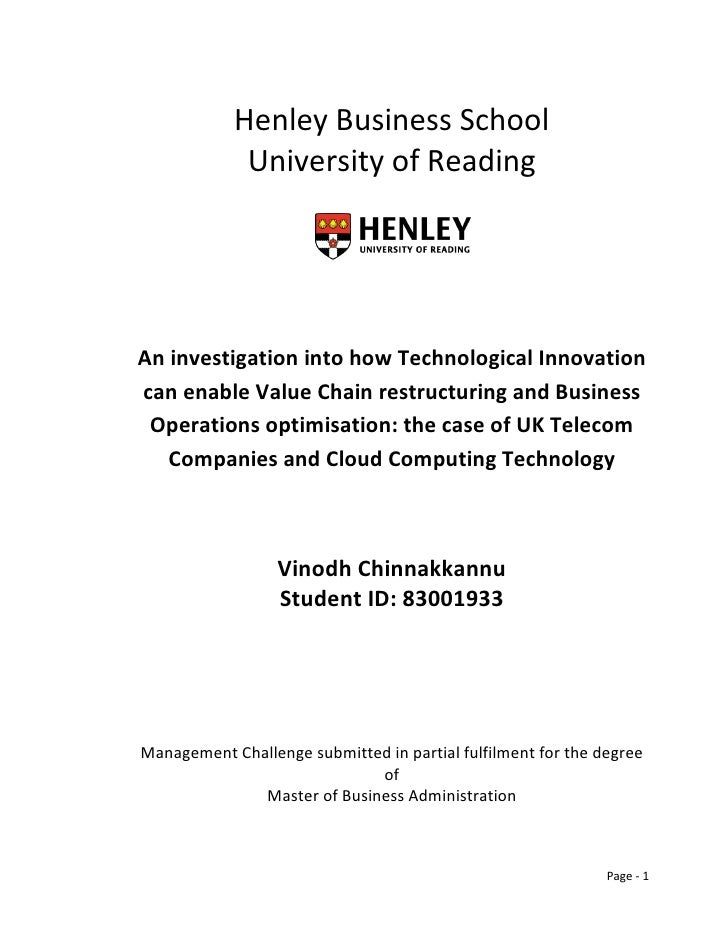 Henley Business School              University of Reading     An investigation into how Technological Innovation can enabl...
