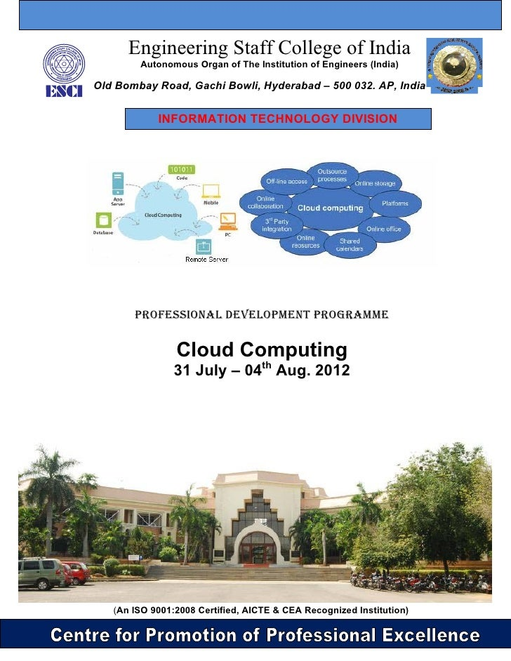 Cloud computing at ESCI from July 31st till 04th Aug