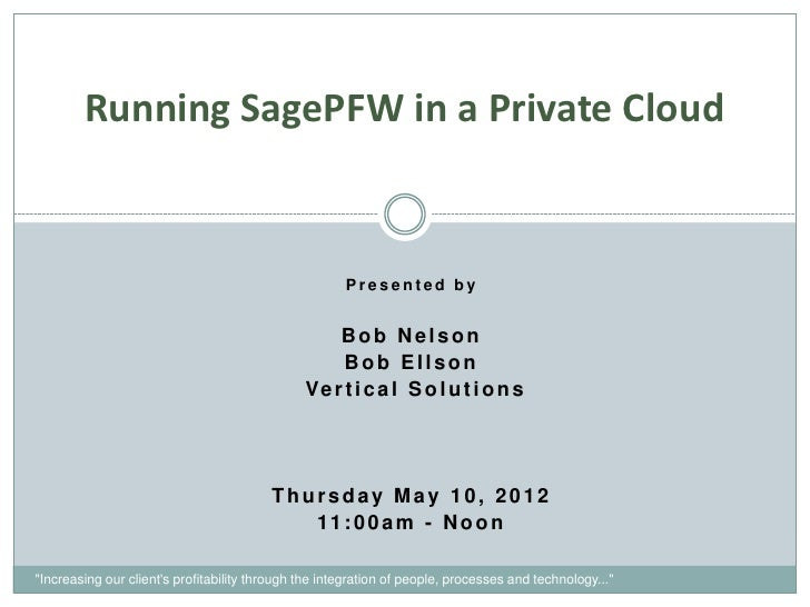 Running SagePFW in a Private Cloud