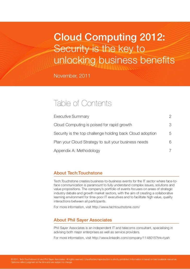 Cloud Computing 2012:                                             Security is the key to                                  ...
